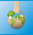 hand with reuse paperbag of the green earth vector image vector image
