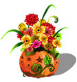 handmade autumn decor of fresh flowers gerbera