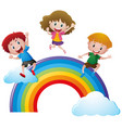happy children on colorful rainbow vector image