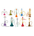 hookah flat set with pipe for smoking tobacco and vector image