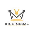 king medal logo with letter m vector image