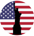 Liberty statue and usa flag vector image
