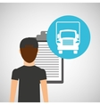 man delivery checking transportation logistic vector image vector image