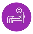 Man lying on bench and lifting barbell line icon vector image vector image