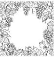 monochrome grape branches square frame vector image vector image