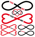 never ending love red infinity hearts set vector image vector image