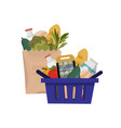 package with healthy food and shopping basket vector image