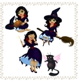 Pretty cartoon witch with imp isolated on white vector image vector image
