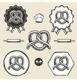 Pretzel bakery vintage symbol emblem label vector image