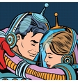 Retro love couple astronauts man woman vector image vector image