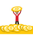 rich man holding dollar coin on gold money stack vector image vector image