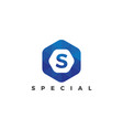 s letter logo on polygonal style vector image vector image