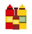 sauce or condiment bottles fast food icon image vector image
