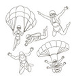 set of parachuter vector image