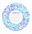 smart city concept in circle with thin line icons vector image