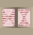 stripe pink gold foil cover set vector image
