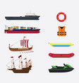 transportation in sea or water collection with vector image