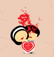valentines day sweet love couple with hearts vector image vector image