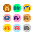 various cute animal icon set vector image