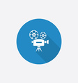 video Flat Blue Simple Icon with long shadow vector image