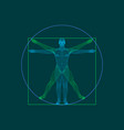 vitruvian man wireframe human body outline vector image vector image
