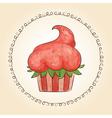 watercolor cupcake look like strawberry vector image