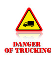 yellow warning danger of trucking icon background vector image vector image
