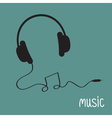 Black headphones with cord in shape of note Music vector image