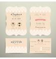 Art Deco Cartoon Couple Wedding Invitation Card vector image