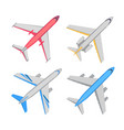 aircraft top view set vector image vector image