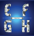 alphabet robot futuristic technology style in a vector image vector image