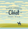 banner with western landscape and indian on horse vector image vector image