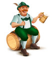 beer festival oktoberfest man sits on wooden vector image