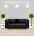 black sofa with lams with grey background vector image vector image
