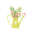 bouquet of pink tulips in vase in form of watering vector image
