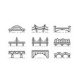 bridge line icon set vector image vector image