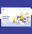 business boost isometric landing page vector image