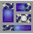 cards with texture blue flowers and sample text vector image