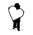child holding heart silhouette vector image vector image