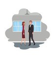 cuople business with wall and windows vector image vector image