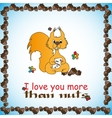 Design card with loved squirrel for Valentine Day vector image