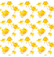 easter seamless pattern with yellow chicken on vector image