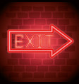 exit arrow neon label icon vector image