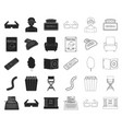 films and cinema blackoutline icons in set vector image vector image