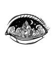 hand drawn landscape in human eye creative vector image