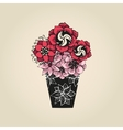 Hand drawn tattoo flowers in black vase vector image vector image