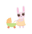 happy family bunnies mother rabbit pushing vector image vector image