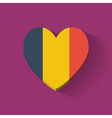 Heart-shaped icon with flag of Romania vector image vector image