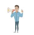 hispanic businessman talking into loudspeaker vector image vector image