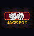 jackpot gold neon light banner vector image vector image